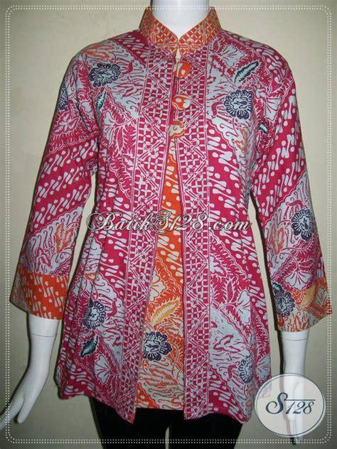 blus kerja batik wanita trendymotif batik parang paduan