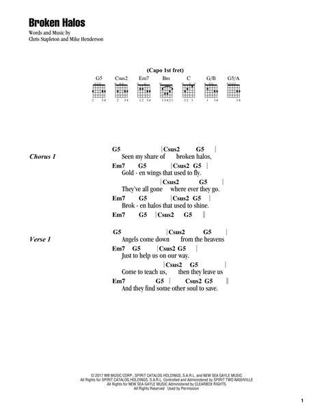 Broken Halos sheet music by Chris Stapleton (Lyrics