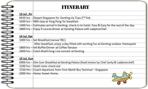 Sle Write Up Template Just B Cause Concert Itinerary Template