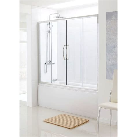 bathscreen silver bath sliding door bathroom city - Sliding Shower Screen Bath