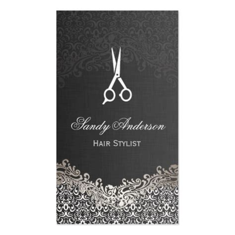 hair stylist business cards templates silver damask hair stylist sided
