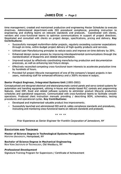 Resume Sles For Experienced Mechanical Engineers Sales Engineer Resume Exle