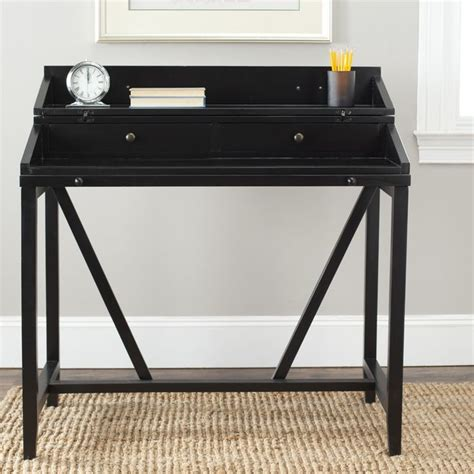 black small desk safavieh wyatt black writing desk