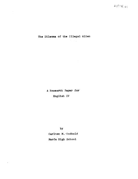 title page for a research paper the dilemma of the illegal a research paper for