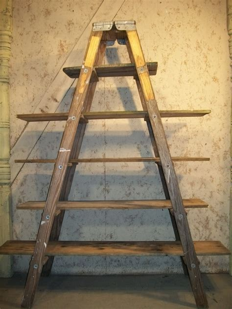 Wooden Shelf Ladders by Wood Step Ladder Shelving With 6 Steps