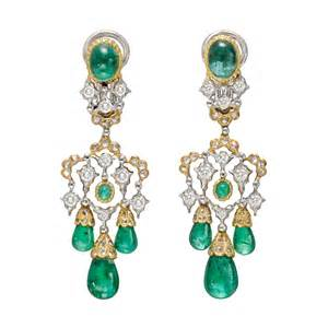 Emerald Chandelier Earrings Estate Buccellati Emerald Drop Chandelier Earrings
