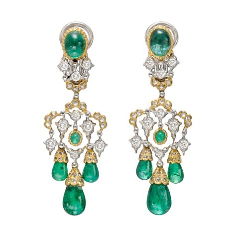 Chandelier Earing Estate Buccellati Emerald Drop Chandelier Earrings Betteridge
