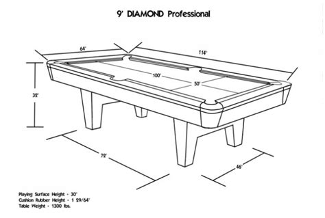 Diamond Billiards Professional Pool Table Professional Pool Table Size