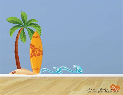 wall decal surfboard sand and waves fabric wall decal print