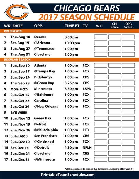 Chicago Bears 2017 Schedule Printable