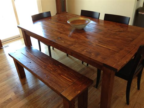 2x4 Kitchen Table Farmhouse Table And Bench Made From Pine 2x6 2x4 And 4x4 S Stain Is Minwax Chestnut