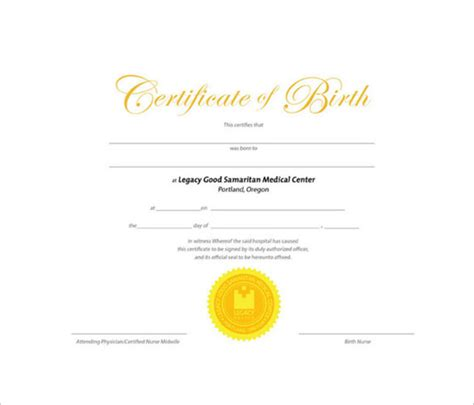 Us Hospital Record Of Birth Birth Certificate Template 11 Free Documents