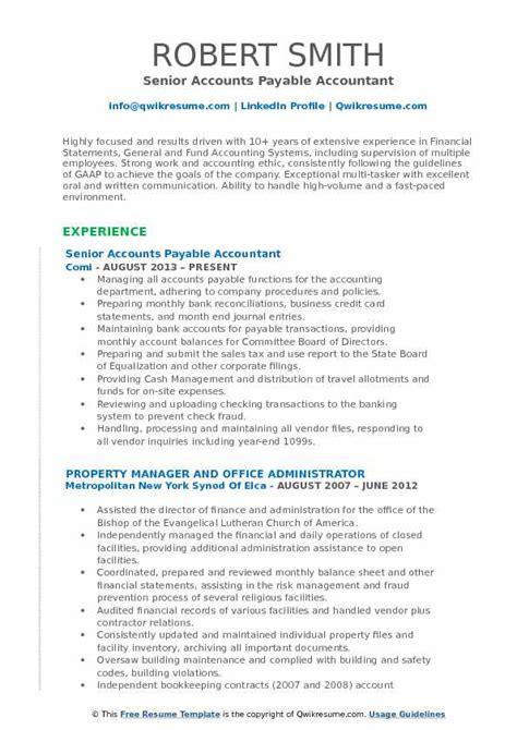 Accounts Payable Resume Pdf by Accounts Payable Accountant Resume Sles Qwikresume