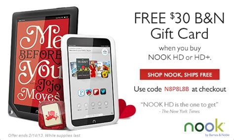 Nook Gift Cards - b n nook hd valentine s day gift promo includes free 30 gift card
