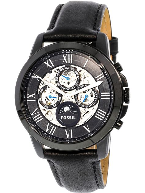 Fossil Me 3028 fossil s grant me3028 black leather japanese automatic