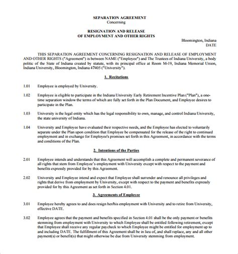 8 Sle Severance Agreements Sle Templates Severance Agreement Template