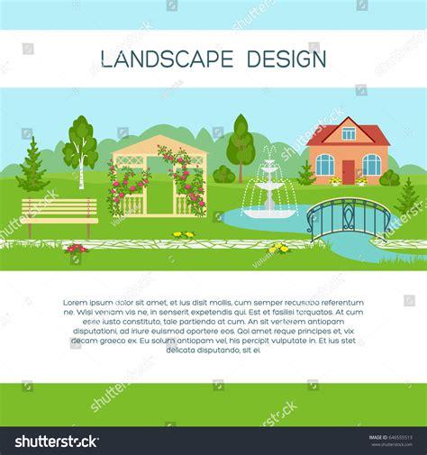 backyard landscape design templates landscape design banner poster brochure template stock