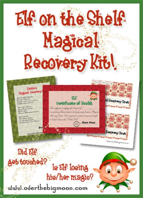 on the shelf card template magical recovery kit