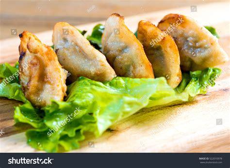 Dumpling Plate food fried dumplings on plate stock photo