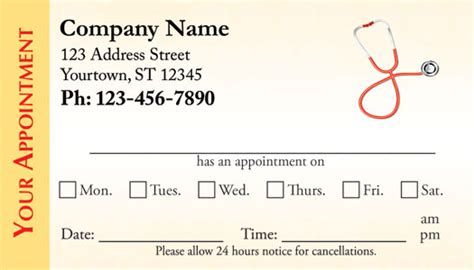 appointment card templats free appointment cards doctors appointment cards
