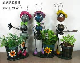 Garden Accessories Wholesale Wholesale Metal Ants Flower Pots Iron Craft Ants Garden