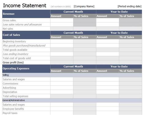 income statement template free income statement template