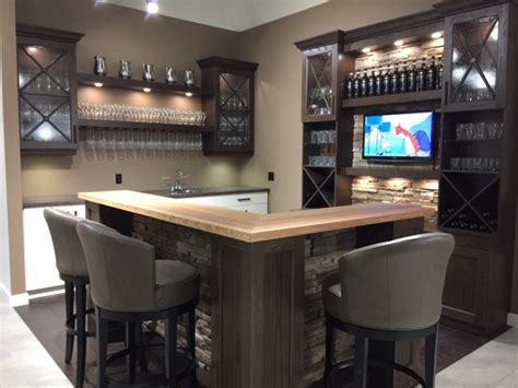 oak and antique white bar with cultured accents