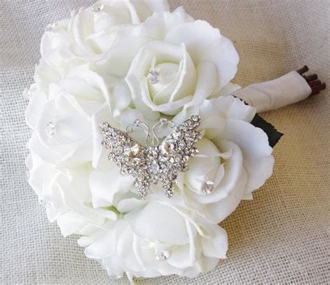 Wedding Bouquet White Roses by Spectacular Butterfly Brooch Wedding Bouquet Silk White