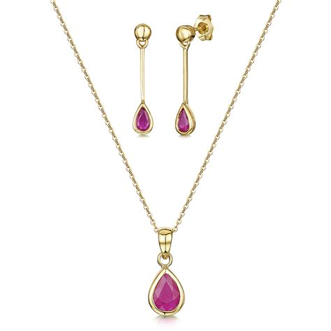 9ct yellow gold 18 inch chain pendant drop ruby