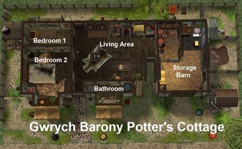 Potters Cottage by Mod The Sims Gwrych Barony 1x2 Merchant Cottage Potter