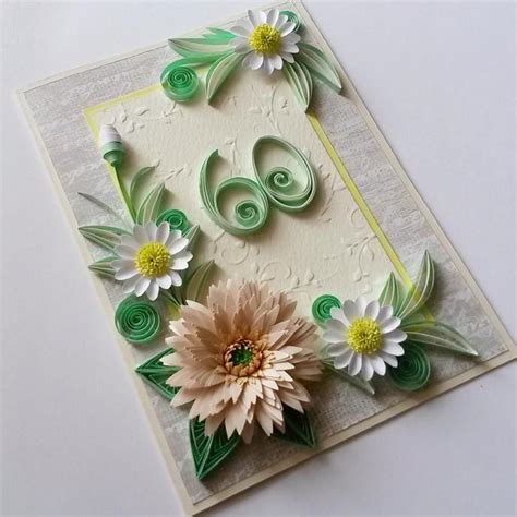 60th birthday card handmade birthday card floral 60th