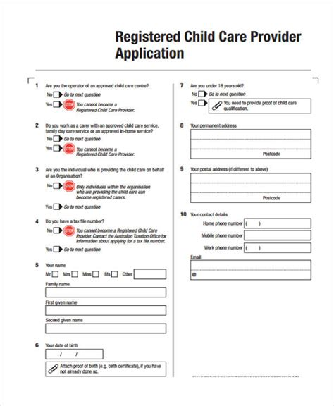 9 sle child care application form free sle exle format