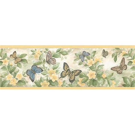 Peel And Stick Grasscloth Wallpaper by Discount Wallcovering Flower Amp Butterfly Border Fdp201