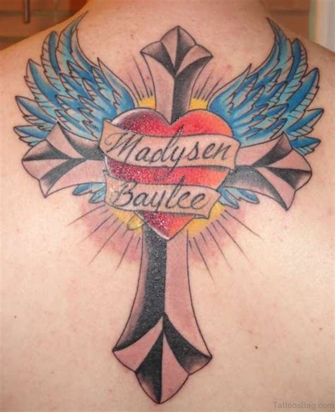heart with wings tattoos 98 best cross with wings tattoos for back