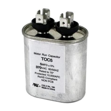 packard 370 volt 5 mfd motor run oval capacitor toc5 the home depot