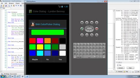 android color android color picker dialog tutorial using basic4android free source code tutorials and articles