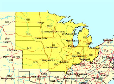 map of midwest states statemaster the midwest