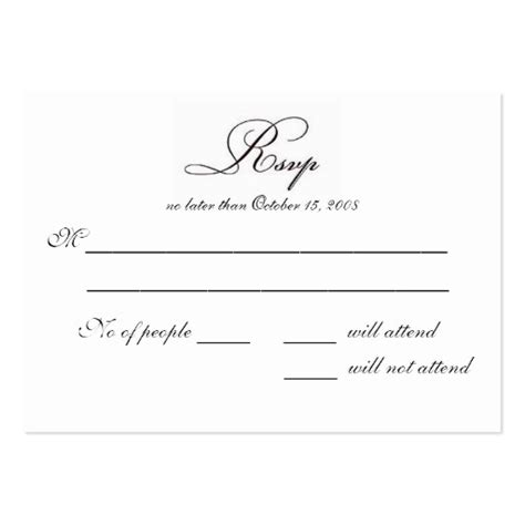 rsvp large business cards pack of 100 zazzle