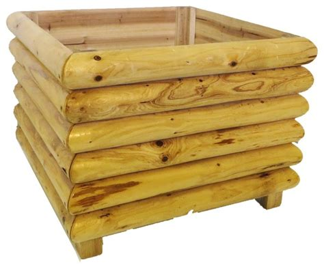 square log wood planter 24 quot rustic outdoor planters