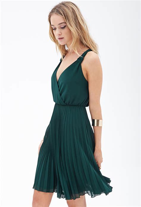 Chiffon Dress Green 30799 lyst forever 21 pleated chiffon dress in green