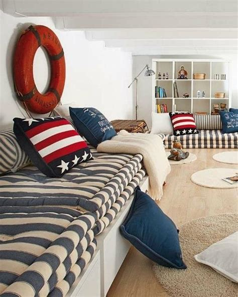 nautical theme decor modern interior decorating with blue stripes and nautical
