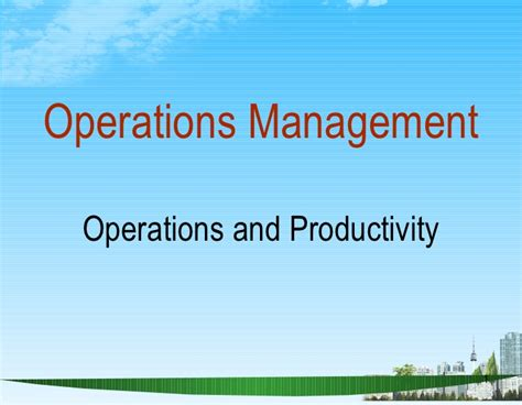 Production And Operation Management Ppt For Mba by Operations Management Ppt Bec Doms