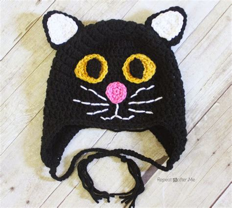 pattern for black cat crochet black cat hat repeat crafter me