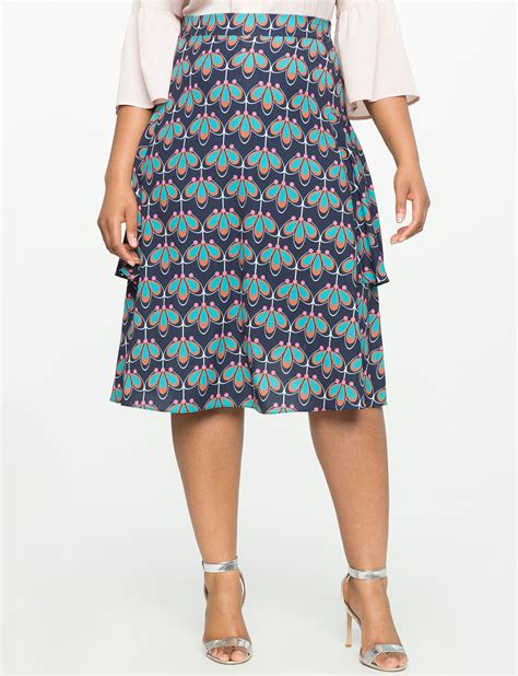 side flounce midi skirt s plus size skirts eloquii