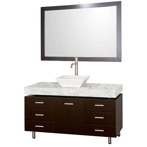 Bathroom Vanity Handles 48 Quot Malibu Bathroom Vanity Set By Wyndham Collection Espresso Finish With White Marble