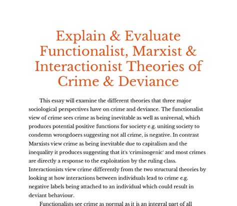 Functionalism Essay by Functionalist Crime And Deviance Essay Llmdissertation