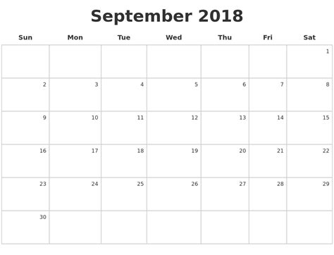 Calendar Sept 2018 September 2018 Make A Calendar