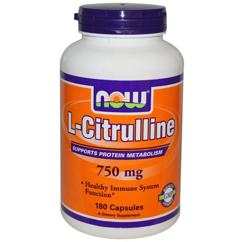 supplement l citrulline now foods l citrulline 750 mg 180 capsules iherb