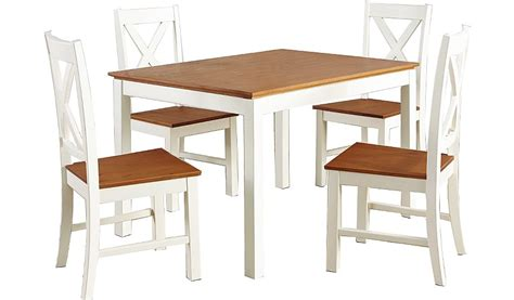 White Dining Table And 4 Chairs George Home Gilmore Dining Table And 4 Chairs Oak Effect