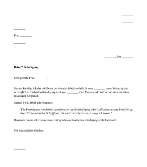 Musterbrief K Ndigung Arbeitsvertrag Arbeitnehmer vorlage k 252 ndigung arbeitsvertrag durch arbeitnehmer